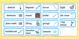 Dentists/Dental Surgery Role Play Word Cards