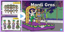 Mardi Gras Words and Pictures PowerPoint