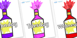Days of the Week on Party Poppers