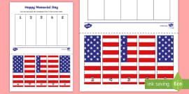 Memorial Day 1-10 Number Sequencing Puzzle