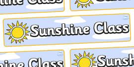 Sunshine Themed Classroom Display Banner