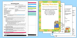 Mixing Pancakes Rhyme EYFS Adult Input Plan and Resource Pack to Support Teaching on Mr Wolf's Pancakes