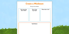 Create a Minibeast Activity Sheet
