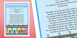 The Wheels on the Bus Nursery Rhyme Large Display Poster