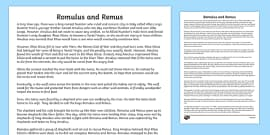Romulus and Remus Story Print Out
