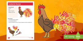 Chinese New Year Rooster with Handprints Tail Craft Instructions