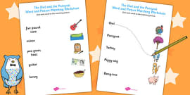 The Owl and the Pussycat Word and Picture Matching Worksheet