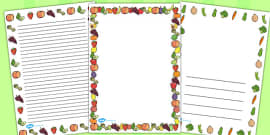 Australia - Fruit and Vegetables Themed A4 Page Borders