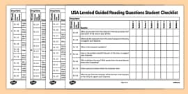 USA Leveled Guided Reading Questions Student Checklist