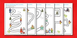 Pencil Control Path Activity Sheets to Support Teaching on The Jolly Christmas Postman