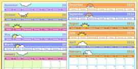 Monthly Calendar Planning Template 2016