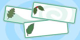 Editable Green Leaf Drawer Labels