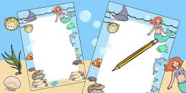 Mermaid Themed Editable Notes
