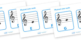 Treble Clef Musical Note Cards