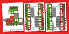 3D Christmas Train Paper Model Display