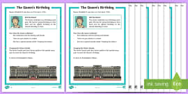 * NEW * KS1 The Queen's Birthday Differentiated Reading Comprehension Activity