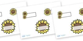 Editable Self Registration Labels (Sunflowers)