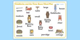 Goldilocks and the Three Bears Word Mat