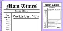 Mother's Day Newspaper Card Template