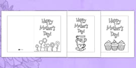Mother's Day Card Templates (Colouring)