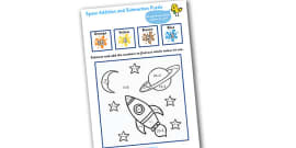 Space Addition and Subtraction Puzzle (0-20)