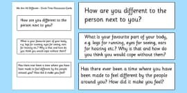 We are all Different Circle Time Discussion Cards