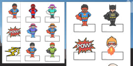 Editable Superhero Labels