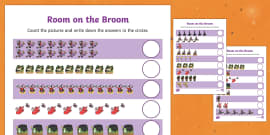 Counting Sheet to Support Teaching on Room on the Broom
