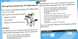 Writing Poetry Inspired by The Highway Man Challenge Activity Sheet