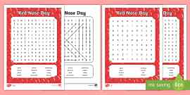 * NEW * Red Nose Day Word Search