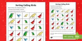 Four Calling Birds Activity Sheet