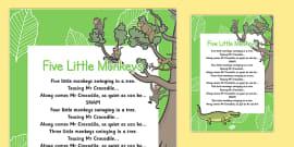 Five Little Monkeys Nursery Rhyme Poster