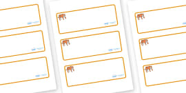 Tiger Themed Editable Drawer-Peg-Name Labels (Blank)