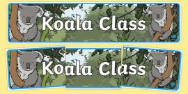 Koala Themed Classroom Display Banner