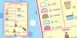 Ice Cream Parlour Order Form Role Play