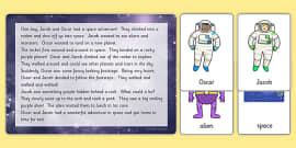 Space Themed Listening Story Activity