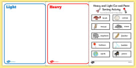 Heavy and Light Cut and Paste Sorting Activity
