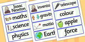 Isaac Newton Word Cards