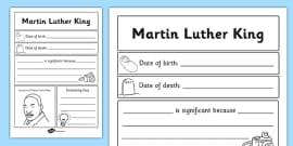 Martin Luther King Significant Individual Writing Frame
