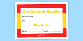 Spanish Award Certificate