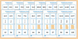 2 to 12 Times Table Multiplication Matching Puzzle Pack