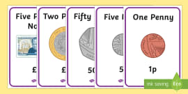 British (UK) Money Coins and Notes Display Posters KS1