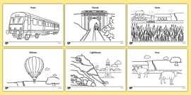 The Train Ride Colouring Sheets