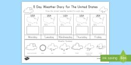* NEW * 5 Day Weather Diary For The United States Activity