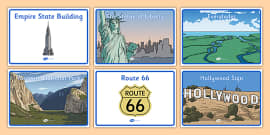 Class Group Table Signs USA American Landmarks