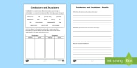 Conductors and Insulators Worksheet