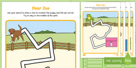Pencil Control Path Activity Sheets to Support Teaching on Dear Zoo