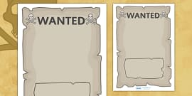 Create Your Own Pirate Wanted Display Poster