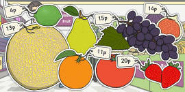 Priced Pieces of Fruit Cut-outs Mixed Up to 20p