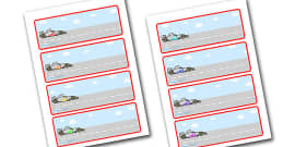 Editable Drawer - Peg - Name Labels (Racing Cars)